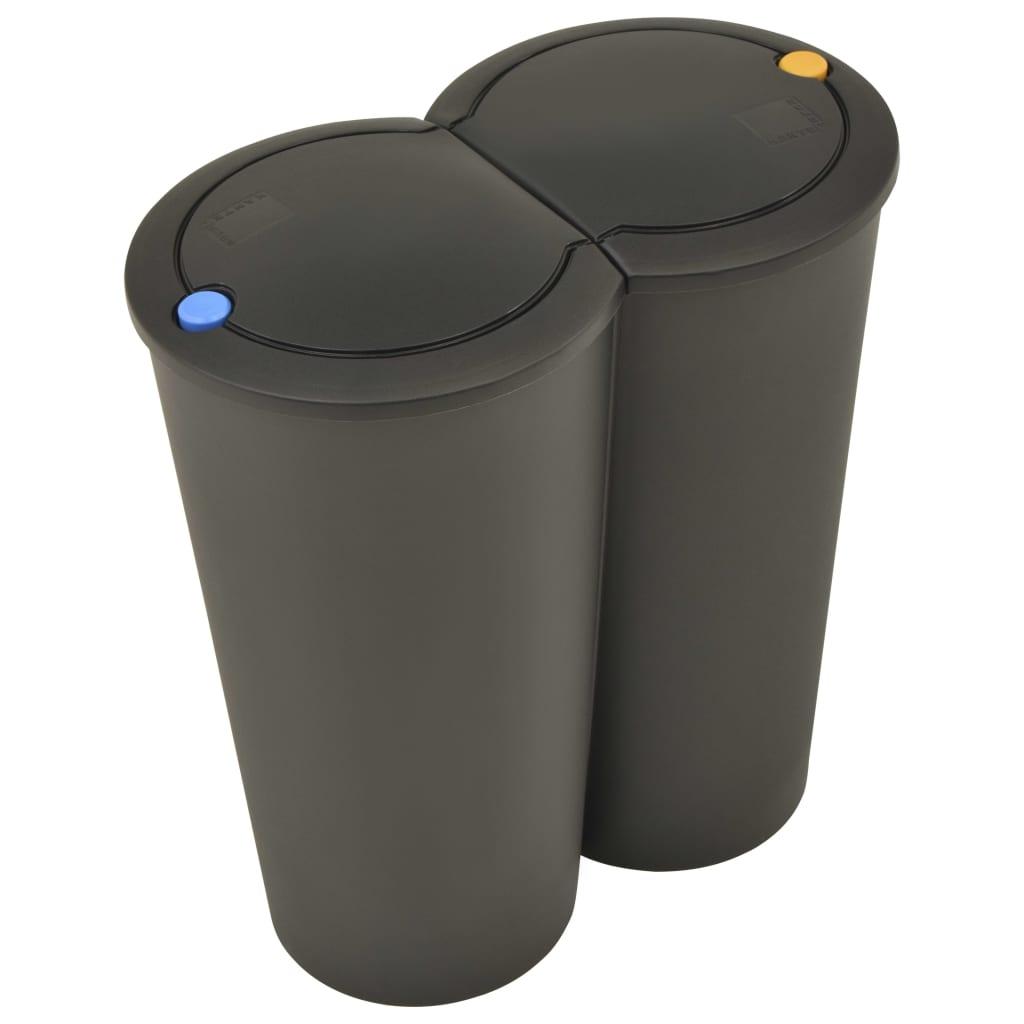 vidaXL Coș de gunoi dublu 50 L negru