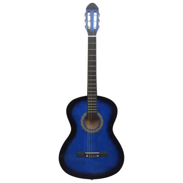 Chitară clasică începători, albastru, 4/4 39″, lemn de tei