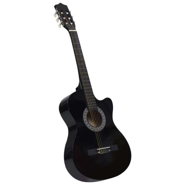 vidaXL Chitară acustică occidentală decupată, cu 6 corzi, 38″, negru