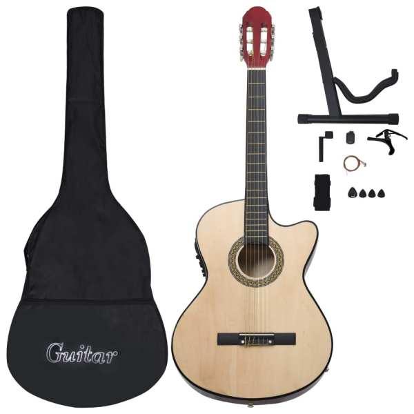vidaXL Set chitară acustică occidentală 12 piese 6 corzi cu egalizator