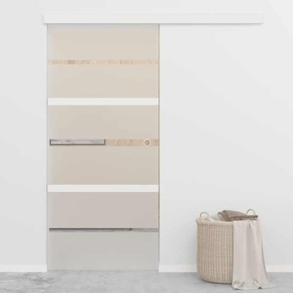 vidaXL Ușă glisantă, argintiu, 90 x 205 cm, sticlă ESG și aluminiu