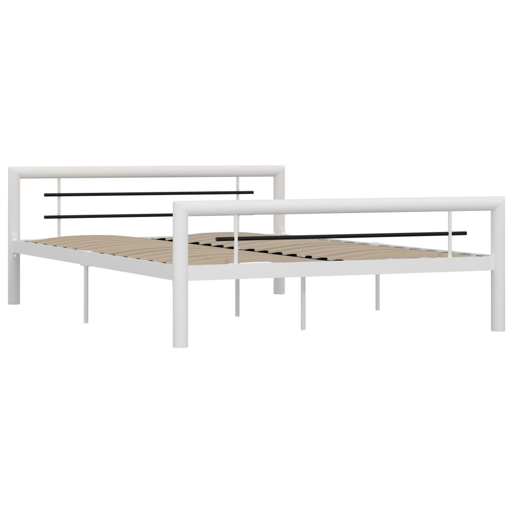 Cadru de pat, alb și negru, 120 x 200 cm, metal
