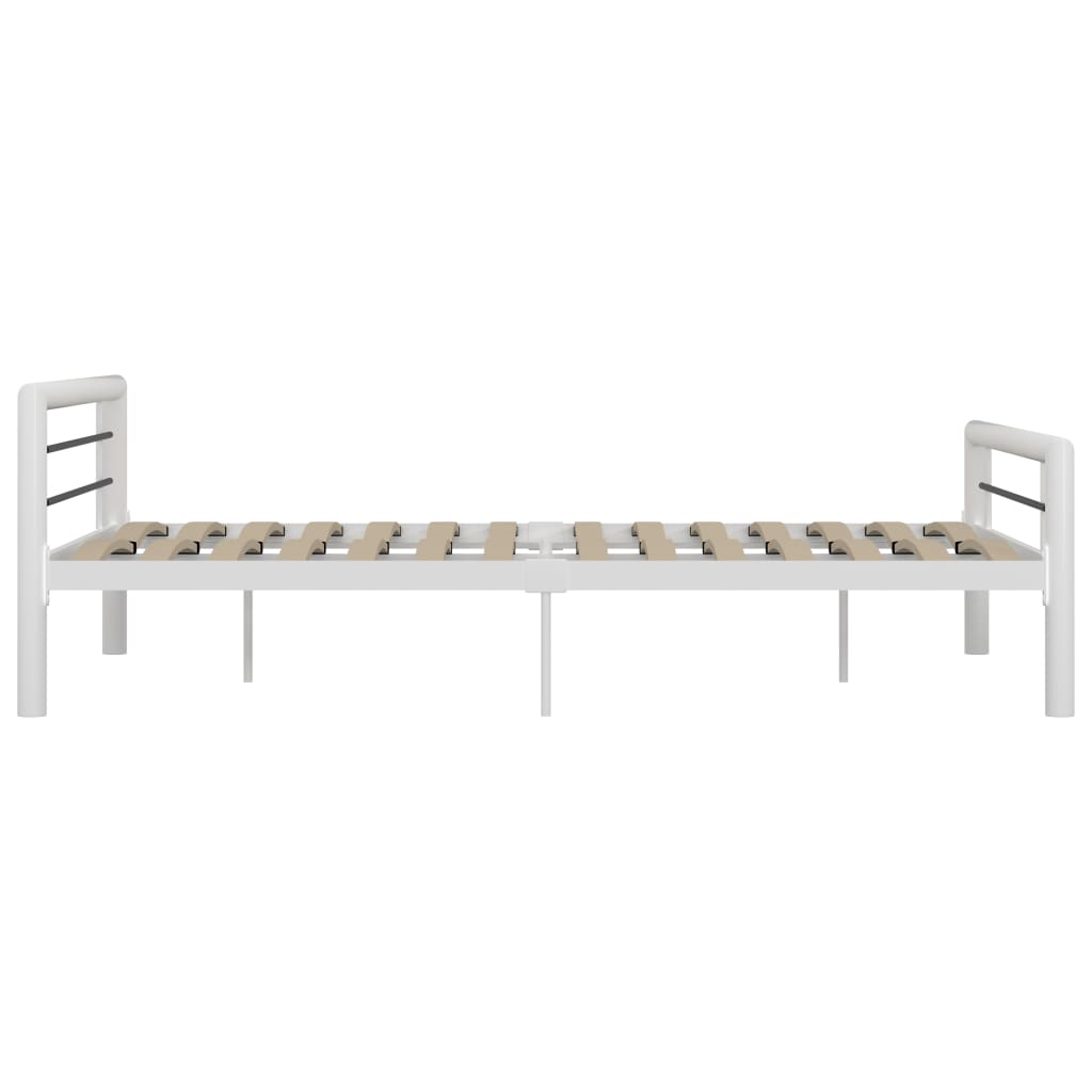 Cadru de pat, alb și negru, 140 x 200 cm, metal
