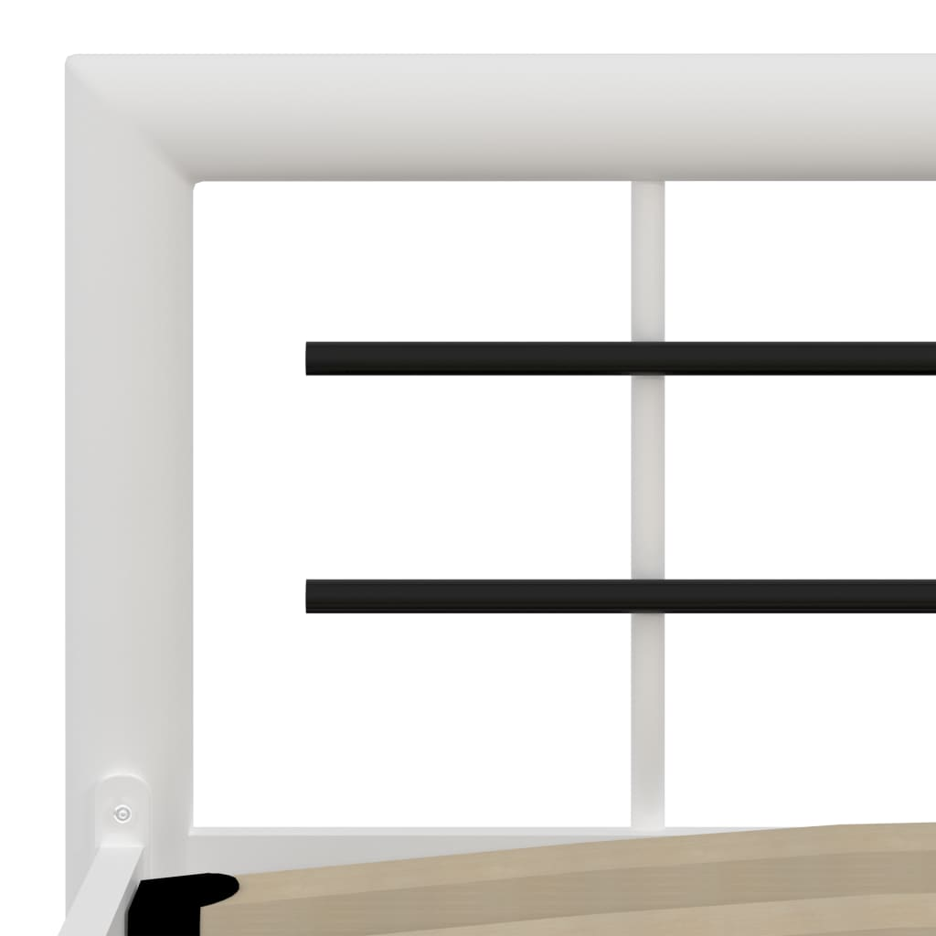 vidaXL Cadru de pat, alb și negru, 160 x 200 cm, metal