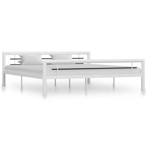 vidaXL Cadru de pat, alb și negru, 180 x 200 cm, metal