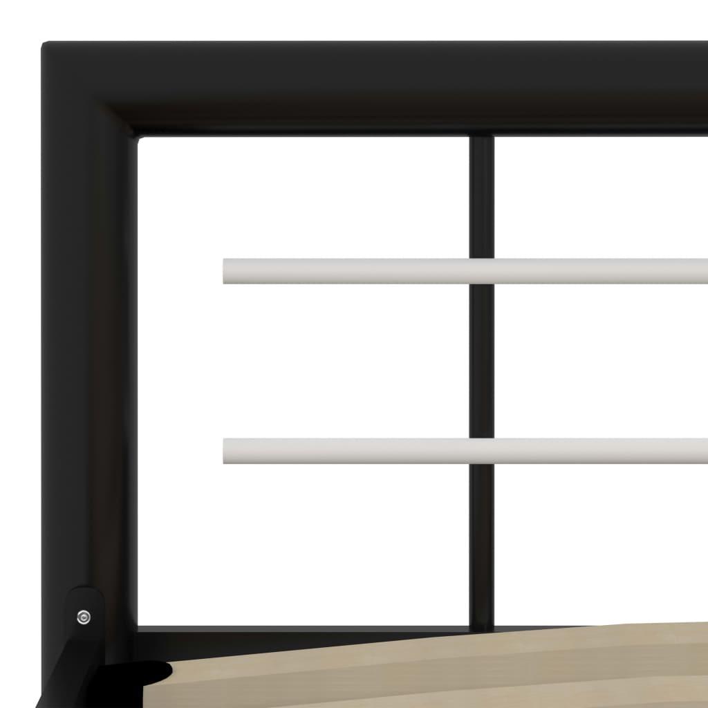 Cadru de pat, negru și alb, 90 x 200 cm, metal