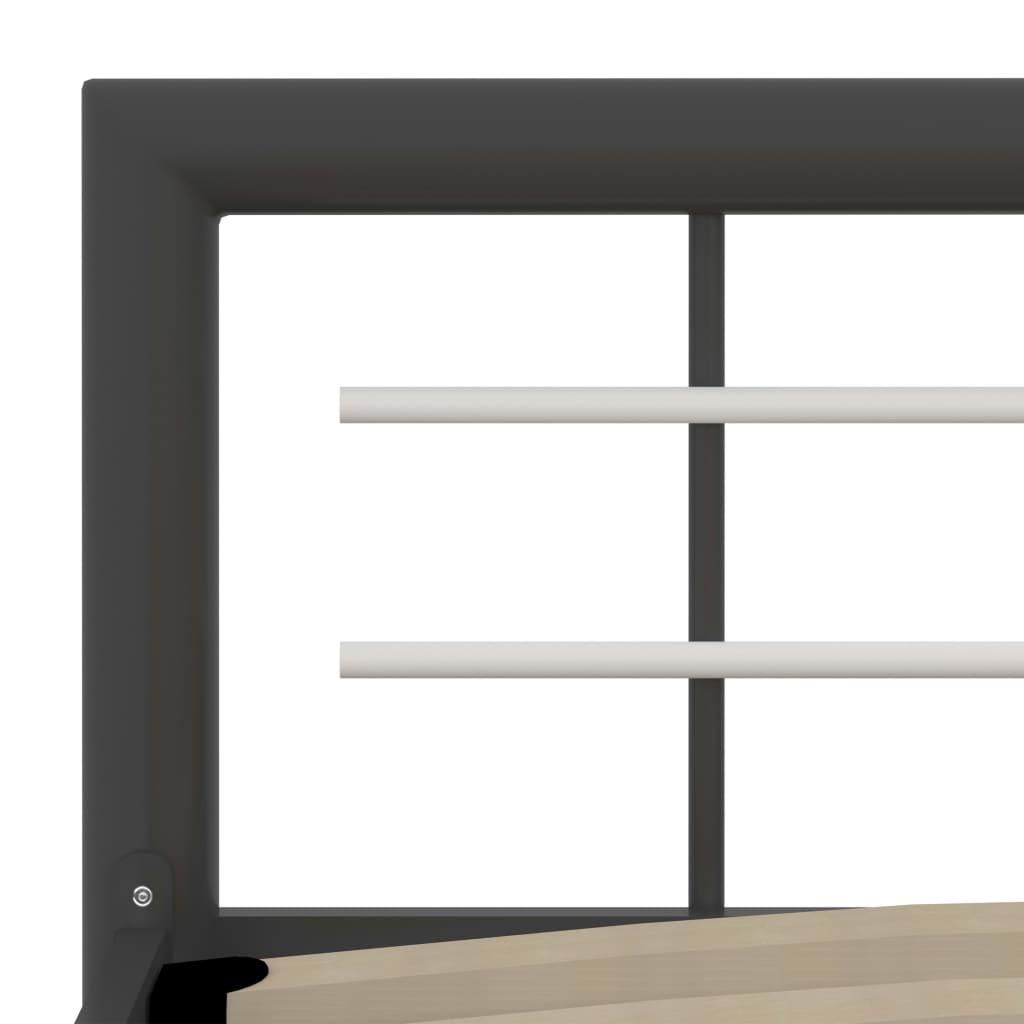 Cadru de pat, gri și alb, 140 x 200 cm, metal