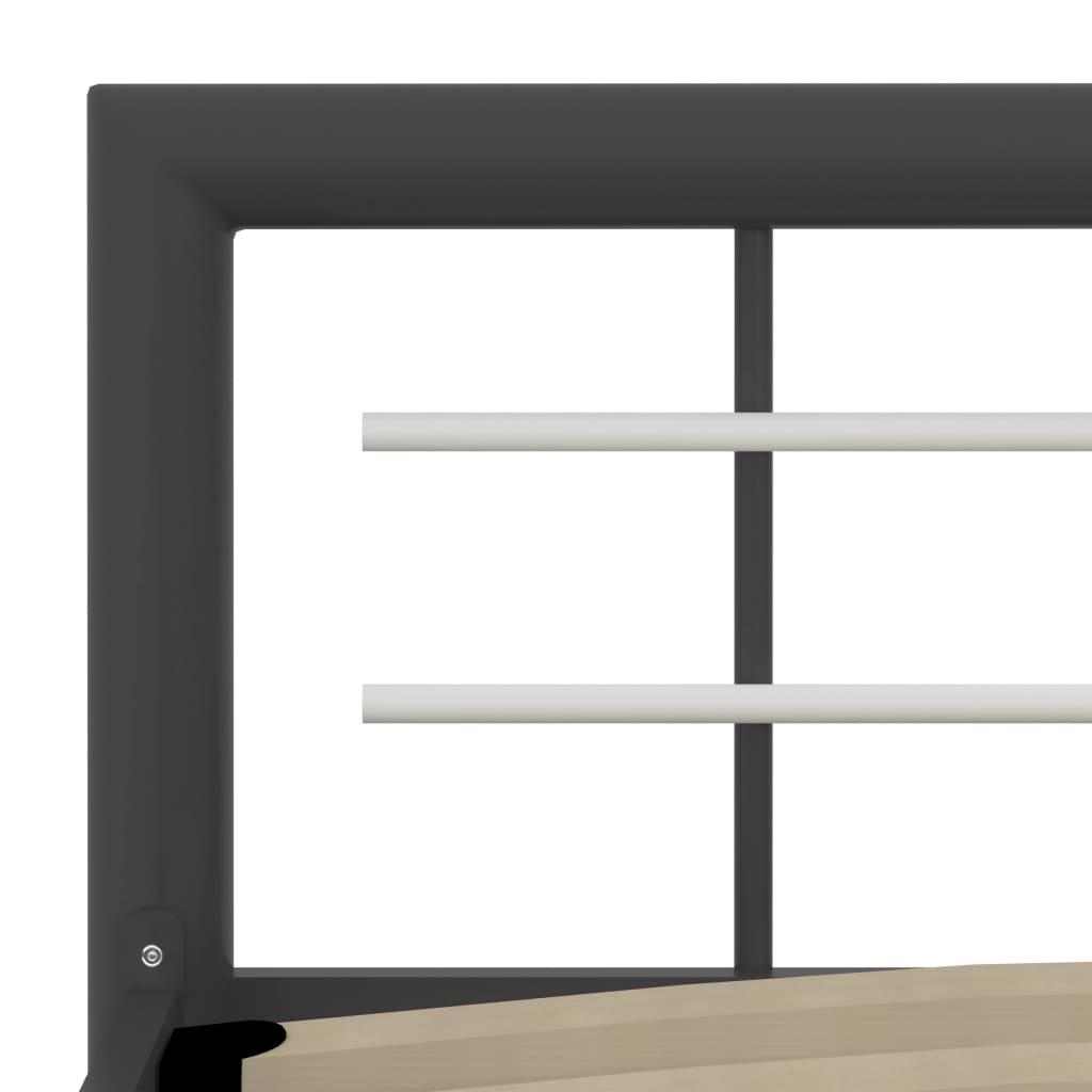 Cadru de pat, gri și alb, 160 x 200 cm, metal