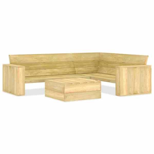 vidaXL Set mobilier de grădină, 2 piese, lemn de pin tratat