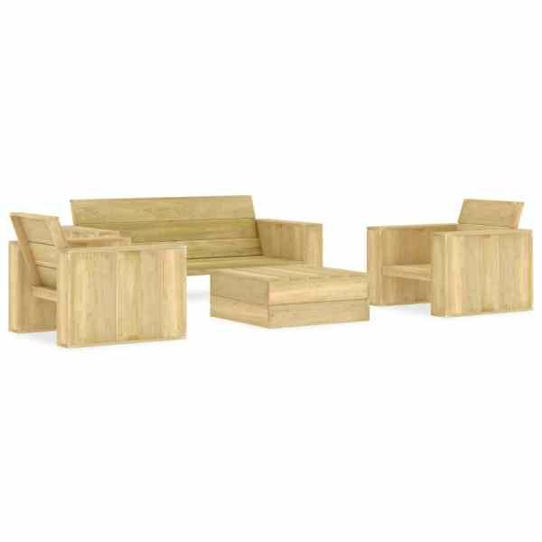 vidaXL Set mobilier de grădină, 4 piese, lemn de pin tratat