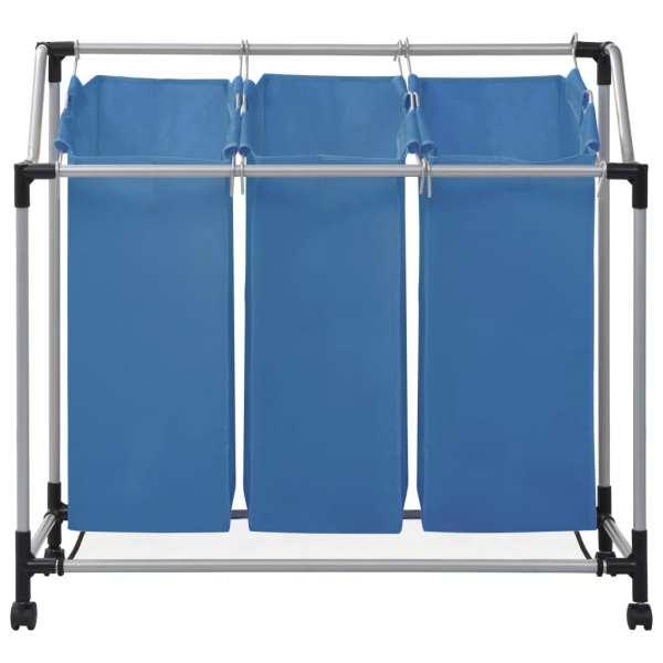 vidaXL Coș sortare rufe cu 3 saci, albastru, oțel