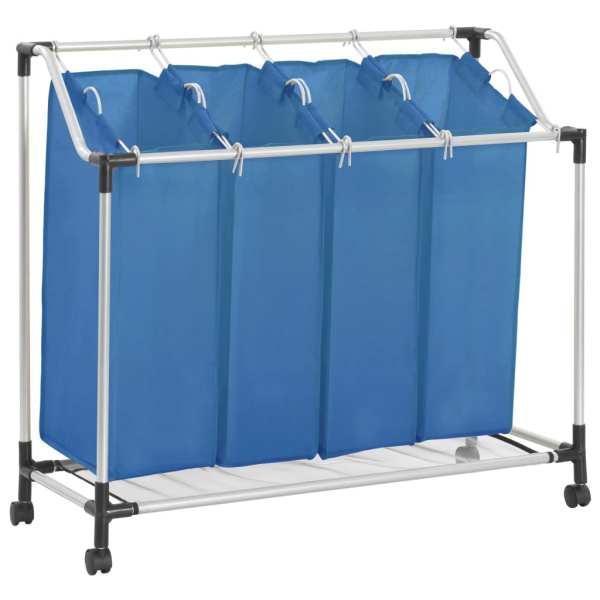 vidaXL Coș sortare rufe cu 4 saci, albastru, oțel