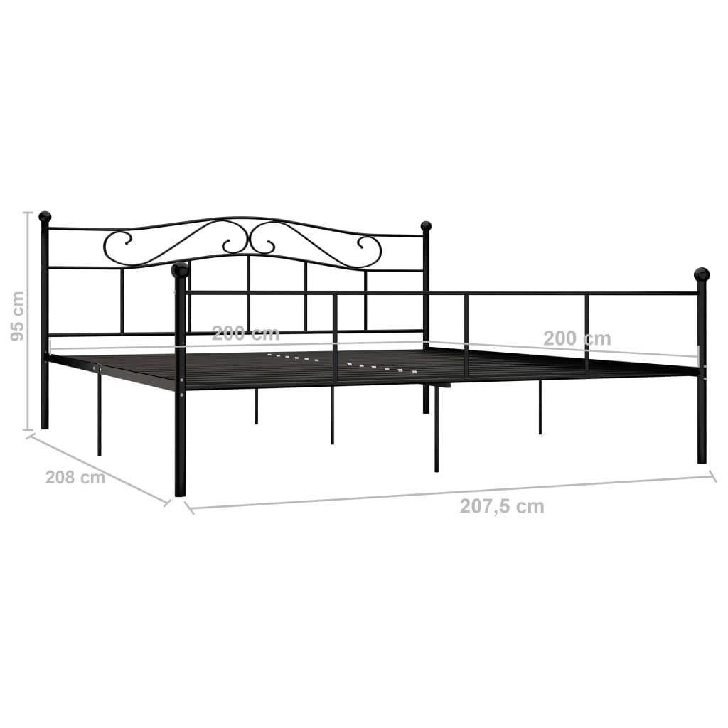 Cadru de pat, negru, 200 x 200 cm, metal