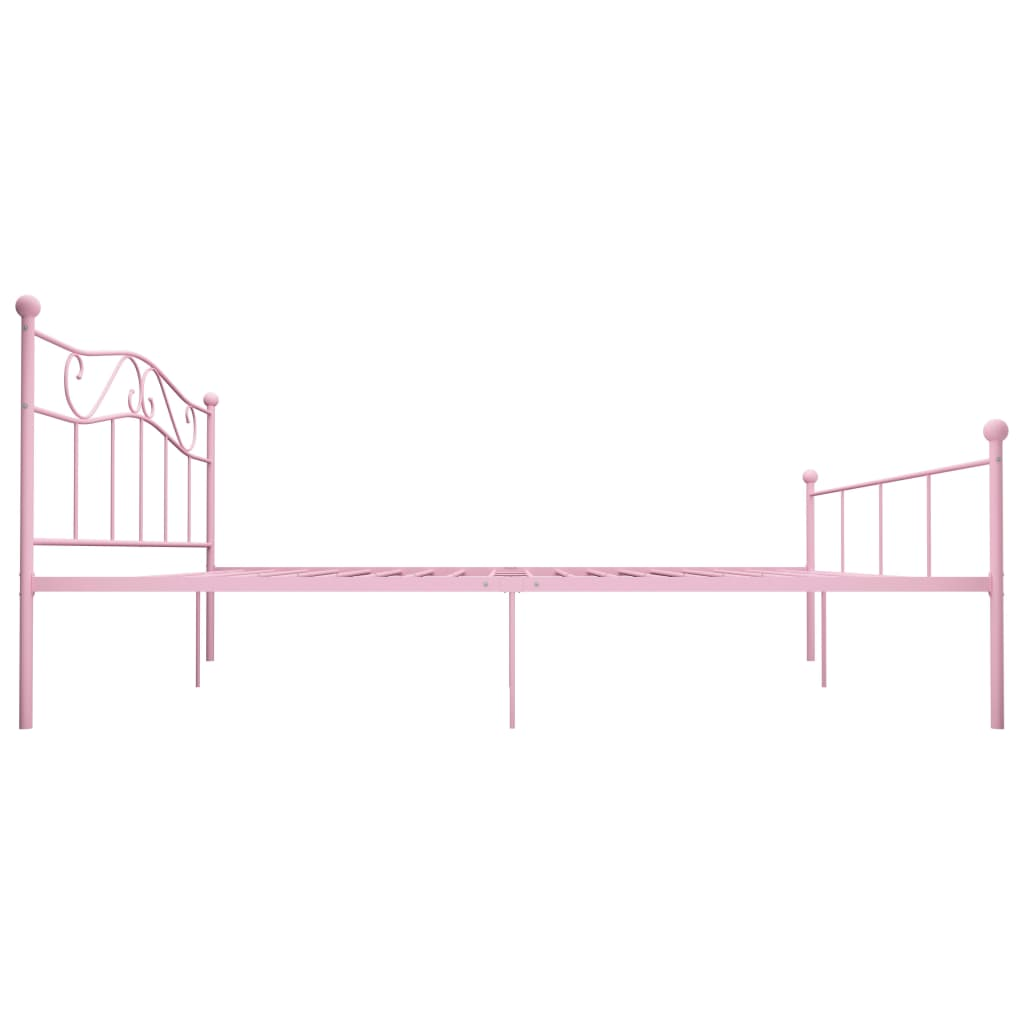 Cadru de pat, roz, 200 x 200 cm, metal