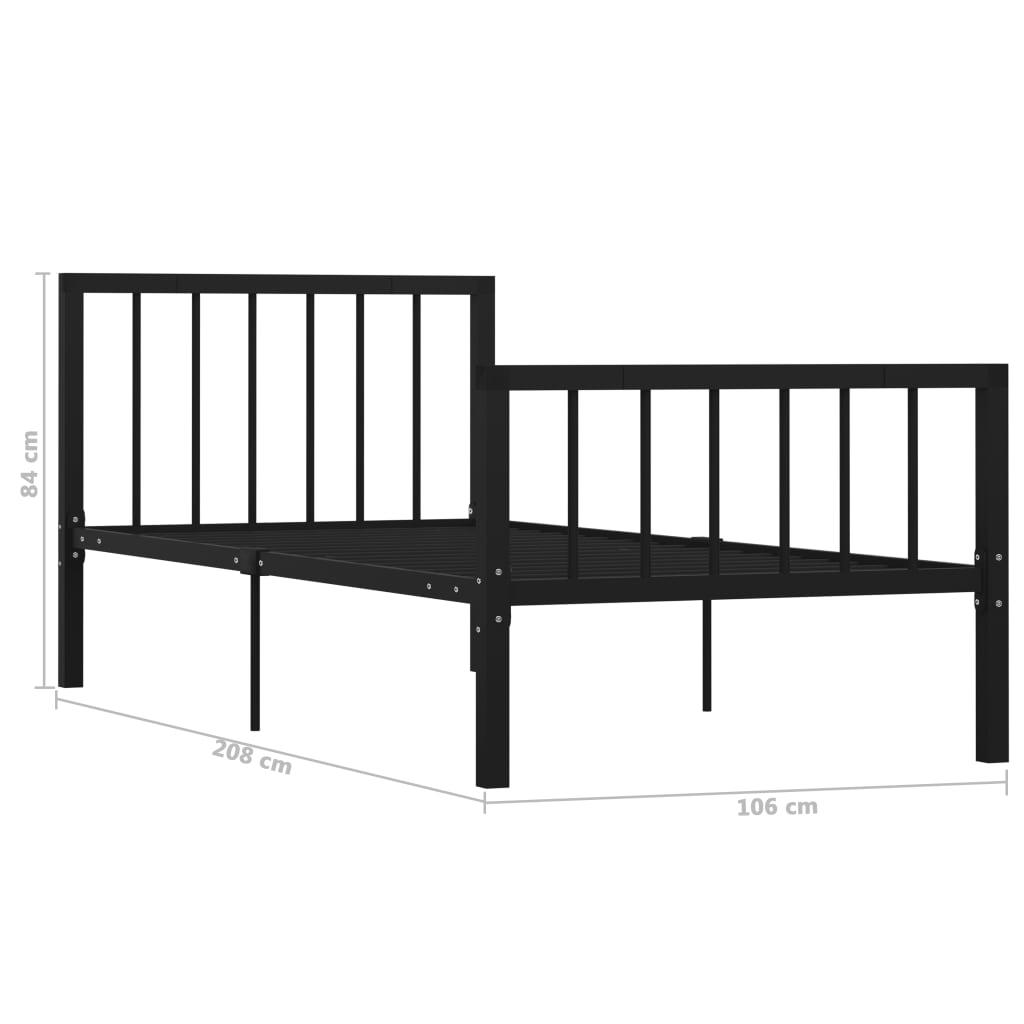 Cadru de pat, negru, 100 x 200 cm, metal