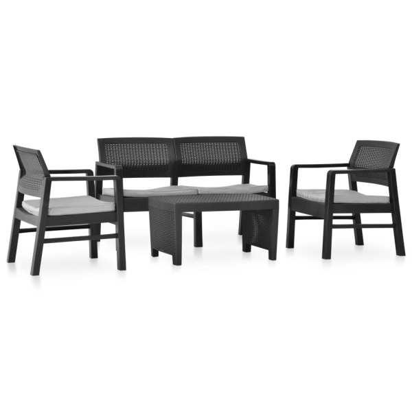 vidaXL Set mobilier de grădină cu perne, 4 piese, antracit, plastic
