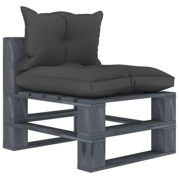 vidaXL Canapea de grădină din paleți cu perne negre, lemn