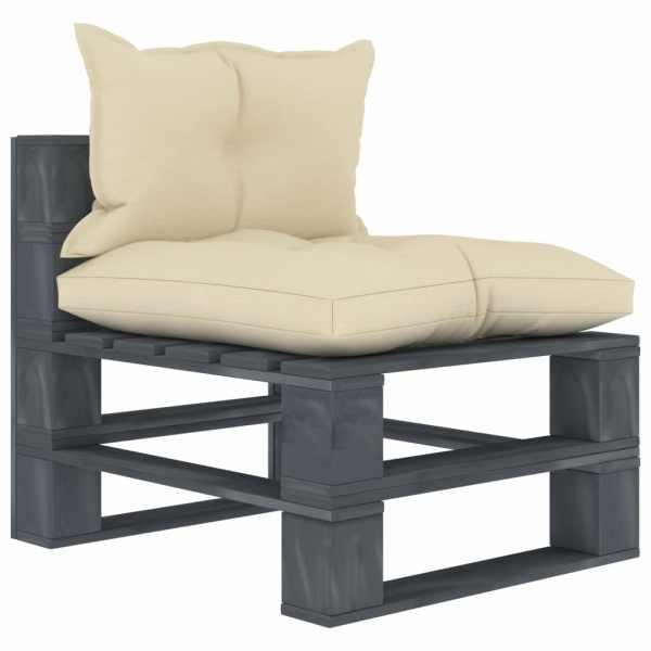 vidaXL Canapea de grădină din paleți, de mijloc, perne crem, lemn