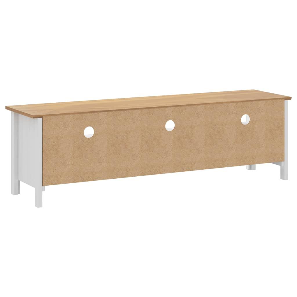 Comodă TV Hill Range, alb, 158x40x47 cm, lemn masiv de pin
