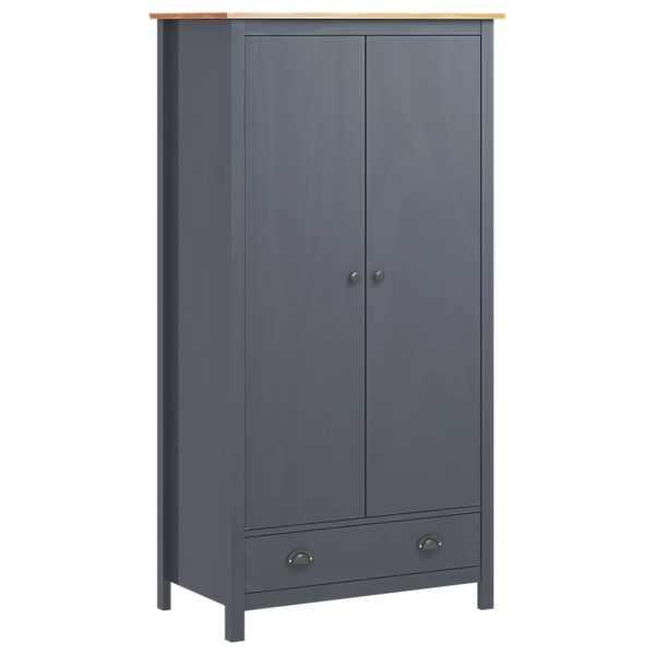 vidaXL Șifonier cu 2 uși Hill Range, gri, 89x50x170 cm, lemn masiv pin