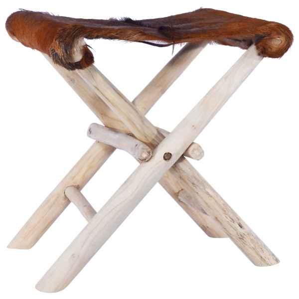 vidaXL Taburet pliant, piele naturală și lemn masiv de tec