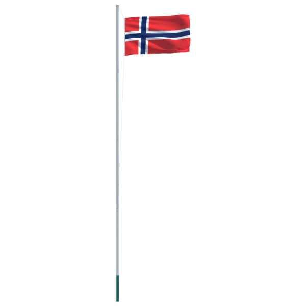 vidaXL Steag Norvegia și stâlp din aluminiu, 6,2 m