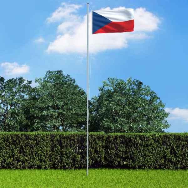 vidaXL Steag Cehia și stâlp din aluminiu, 6,2 m
