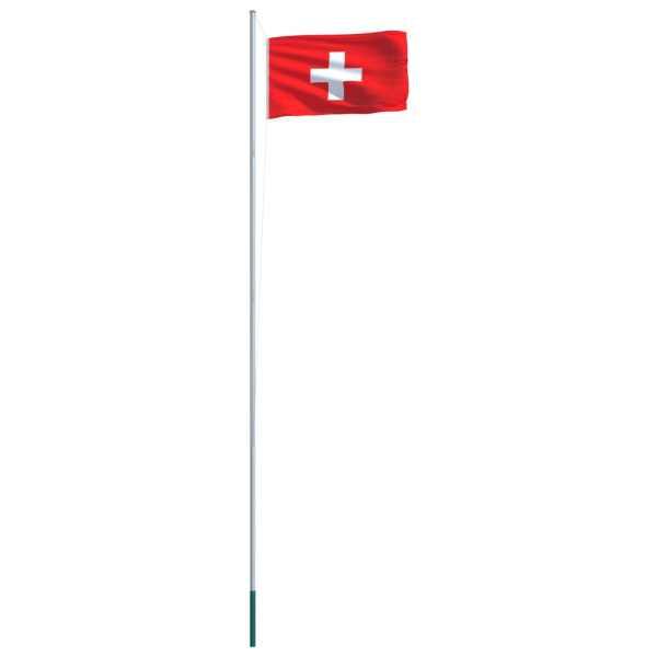 Steag Elveția și stâlp din aluminiu, 6,2 m