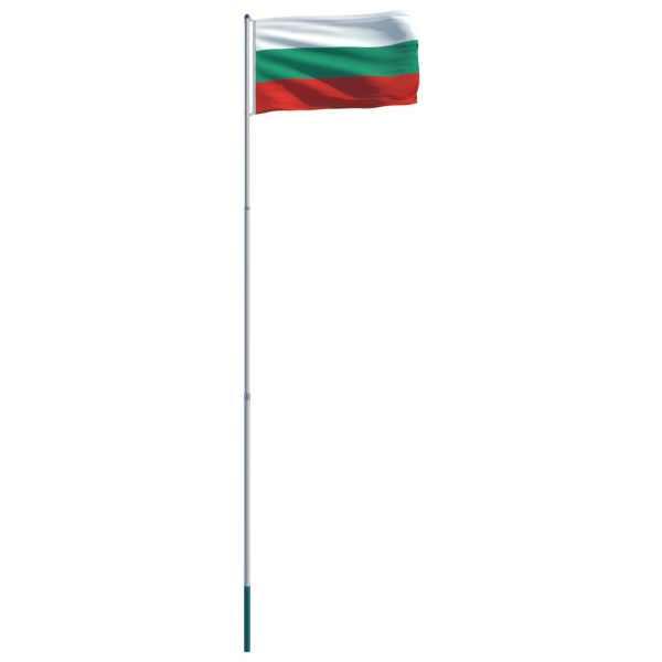 vidaXL Drapel Bulgaria și stâlp din aluminiu, 6 m