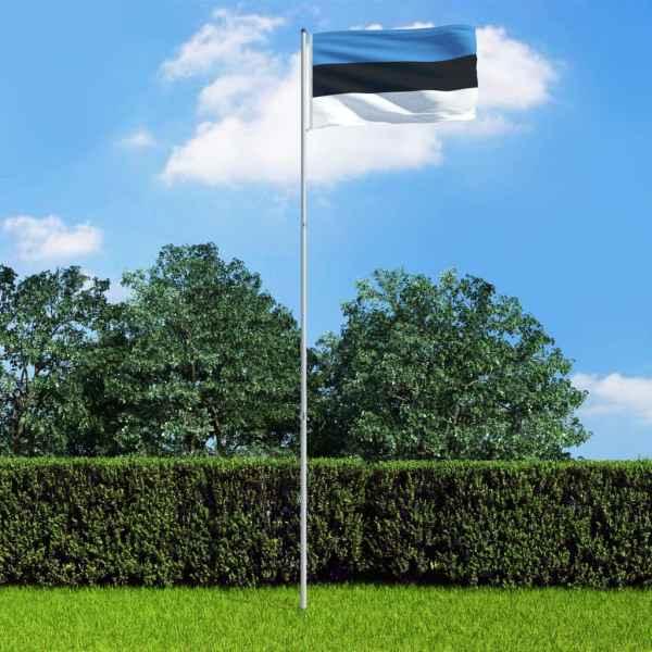 vidaXL Steag Estonia și stâlp din aluminiu, 6 m