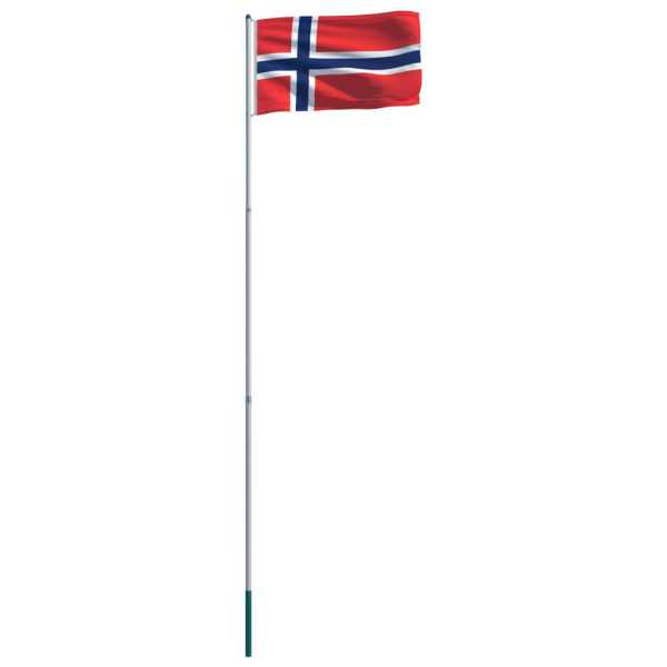 Steag Norvegia și stâlp din aluminiu, 6 m