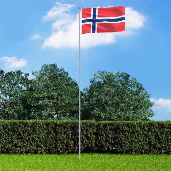 vidaXL Steag Norvegia și stâlp din aluminiu, 6 m