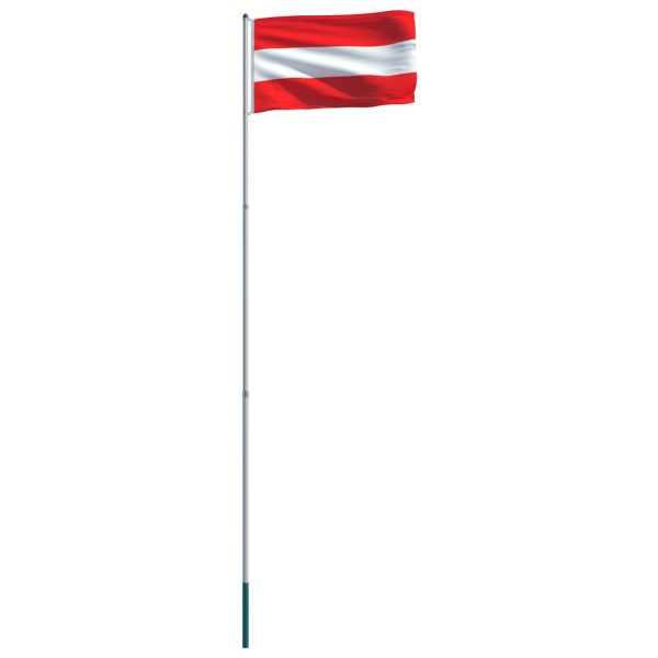Steag Austria și stâlp din aluminiu, 6 m