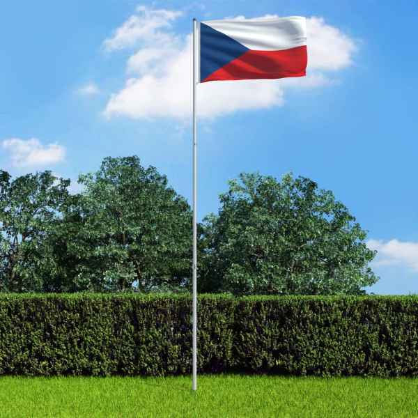 vidaXL Steag Cehia și stâlp din aluminiu, 6 m