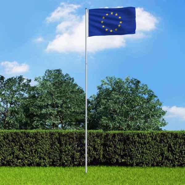 vidaXL Steag Europa și stâlp din aluminiu, 6 m