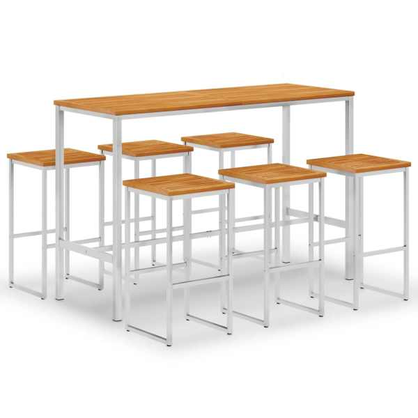 vidaXL Mobilier de bar, 7 piese, lemn de acacia și oțel inoxidabil