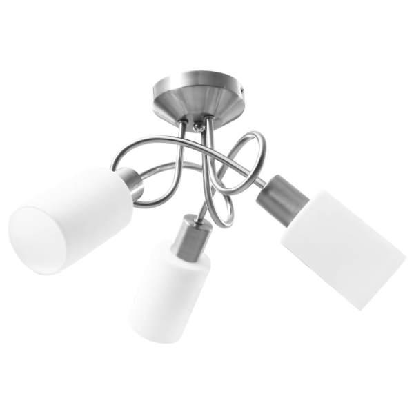 Lustră cu abajururi din ceramică, 3 becuri E14, alb, con