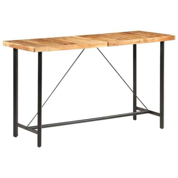 vidaXL Set de bar 9 piese lemn masiv de acacia piele naturală și pânză
