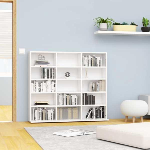 vidaXL Dulap pentru CD-uri, alb extralucios, 102 x 23 x 89,5 cm, PAL