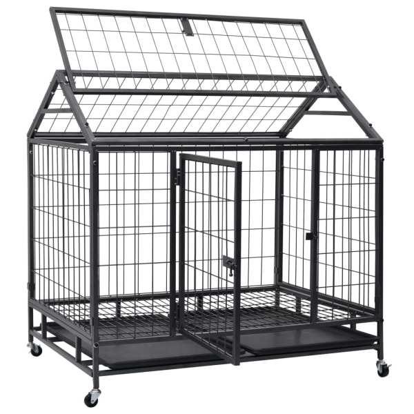 vidaXL Cușcă de câini rezistentă cu roți, 98 x 98 x 72 cm, oțel
