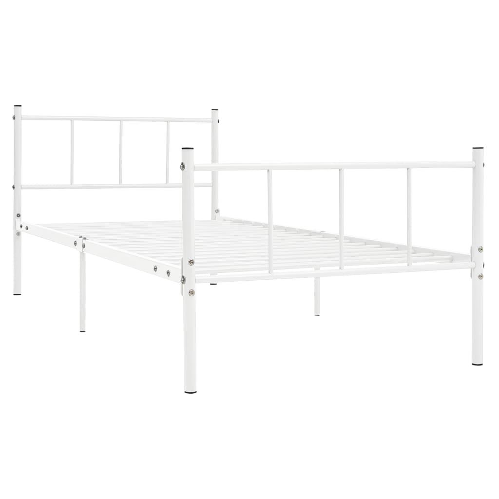 Cadru de pat, alb, 90 x 200 cm, metal