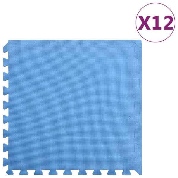 vidaXL Saltele de exerciții, 12 buc., albastru, 4,32 m², spumă EVA