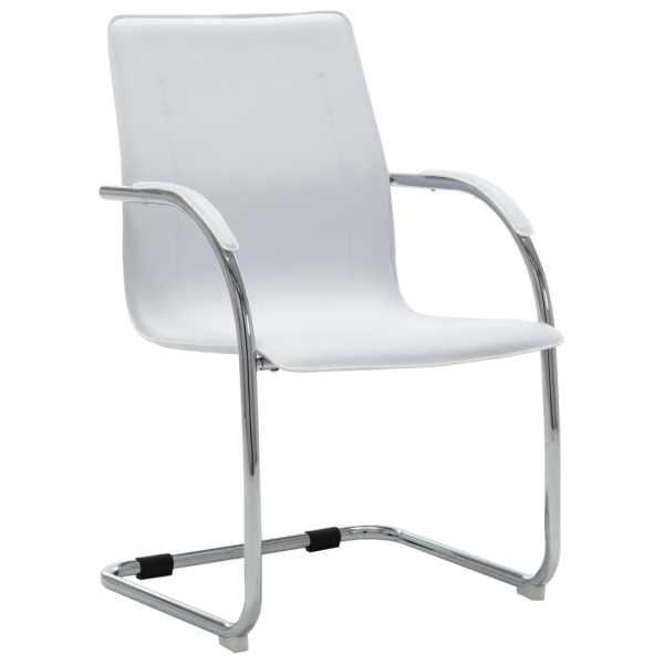 vidaXL Scaun de birou tip consolă, alb, piele ecologică