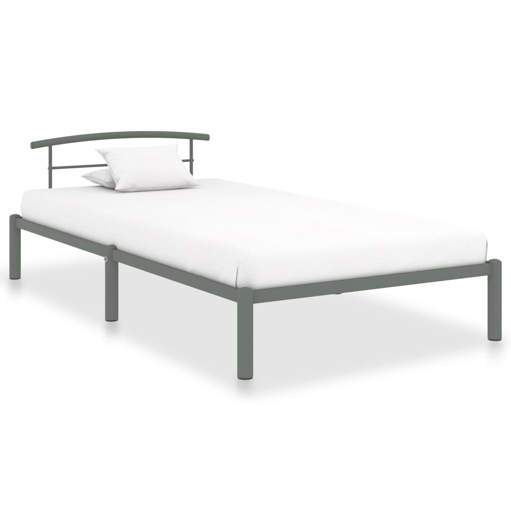 vidaXL Cadru de pat, gri, 90 x 200 cm, metal