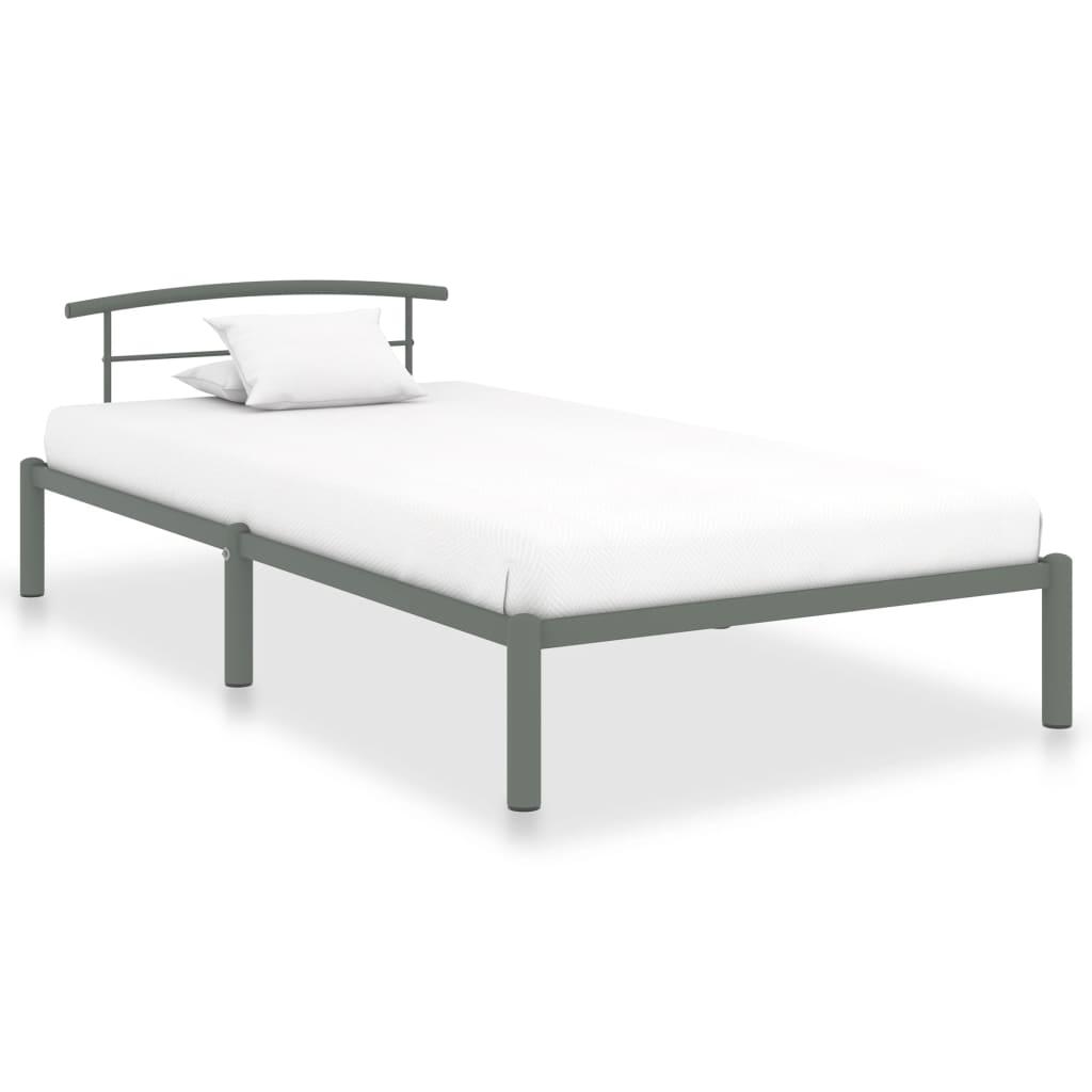 vidaXL Cadru de pat, gri, 100 x 200 cm, metal