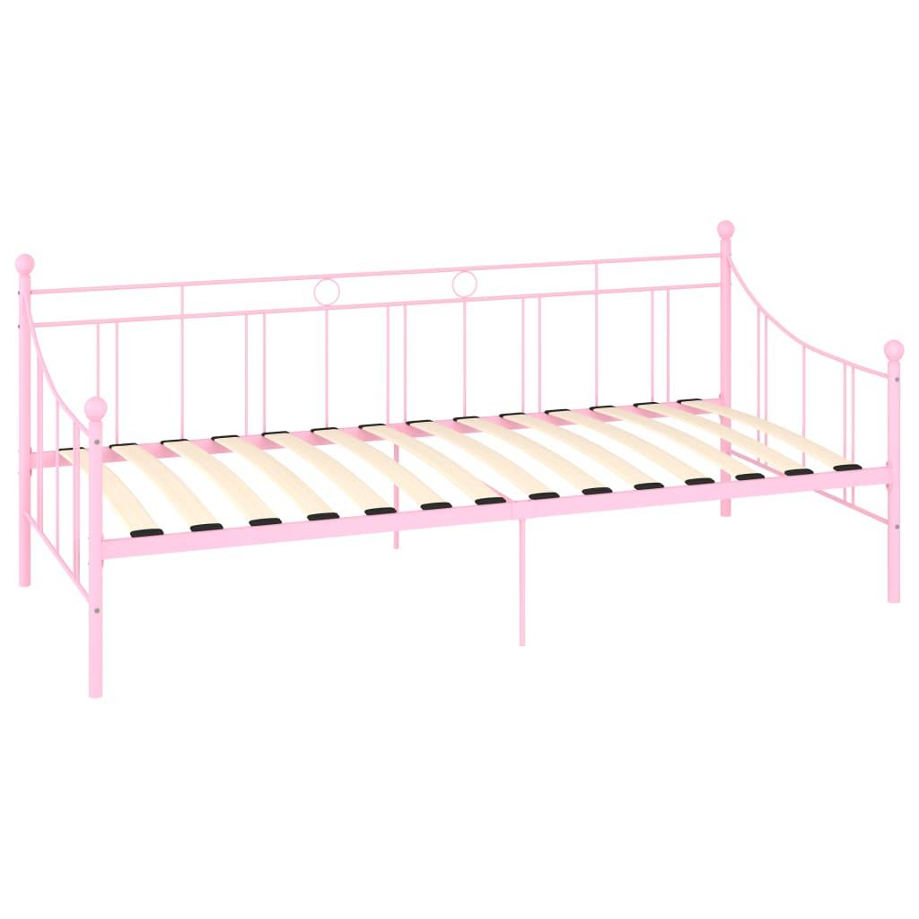 Cadru pat de zi, roz, 90 x 200 cm, metal