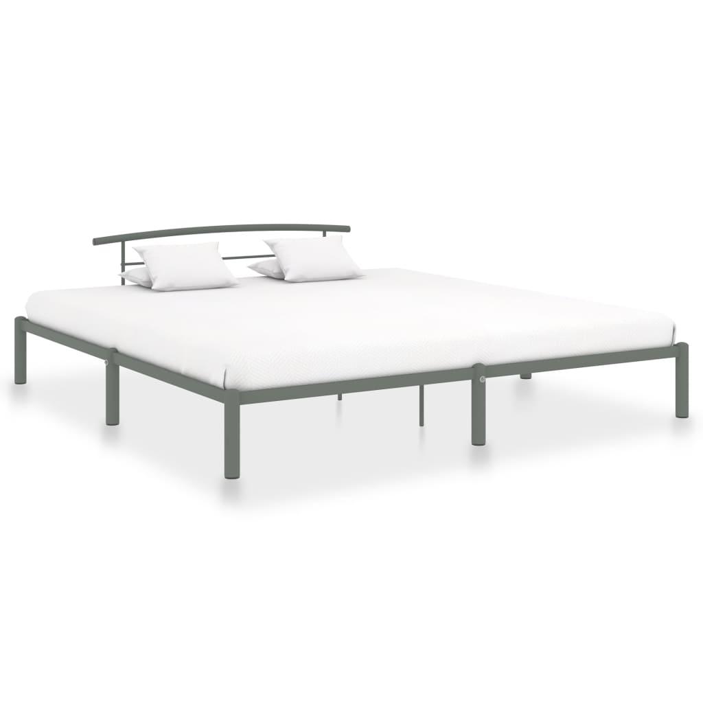 vidaXL Cadru de pat, gri, 200 x 200 cm, metal