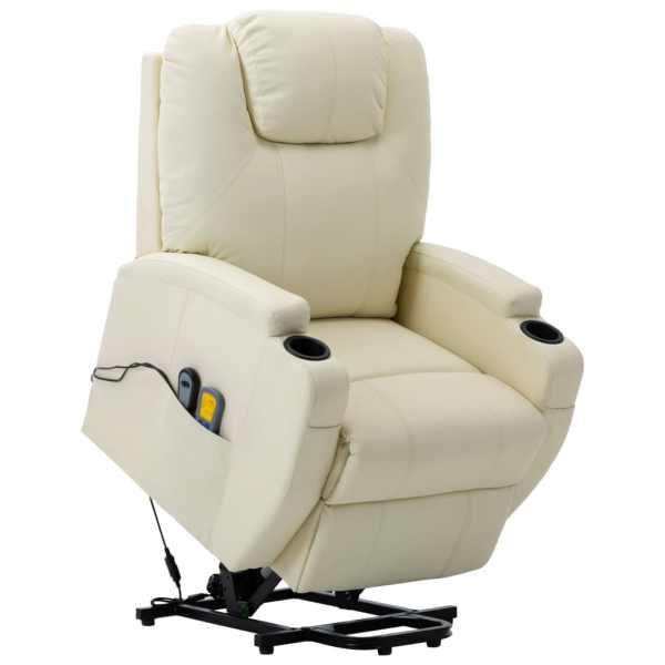 vidaXL Fotoliu de masaj cu ridicare, alb crem, piele ecologică