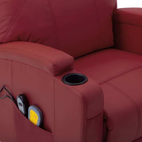 Fotoliu de masaj cu ridicare, roșu vin, piele ecologică