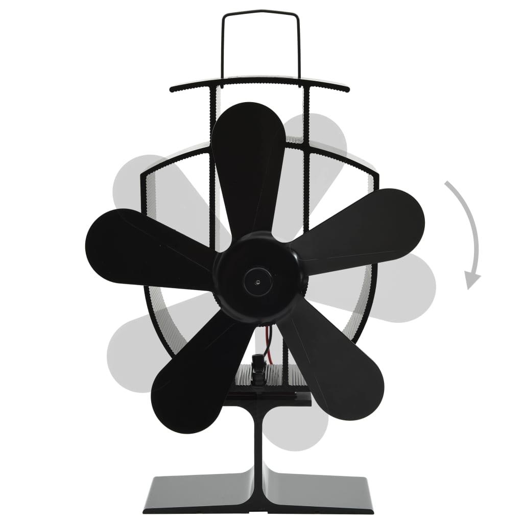 Ventilator de sobă cu alimentare termică, 5 palete, negru